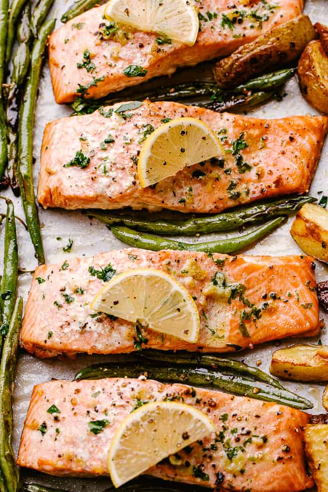 Sheet pan with baked salmon fillets