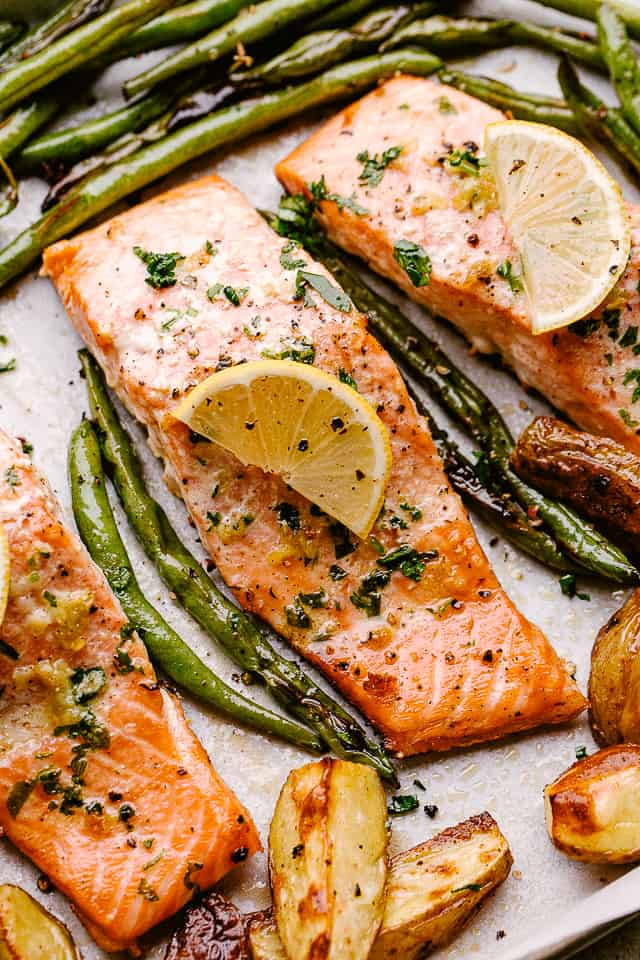 Sheet pan with baked salmon and potatoes