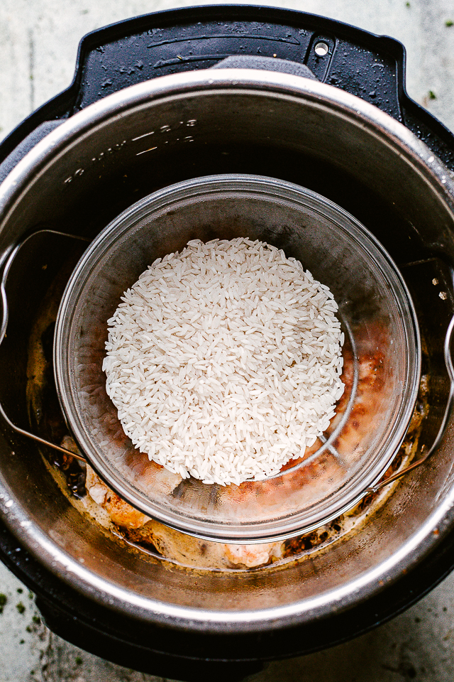Instant Pot with rice ready to cook