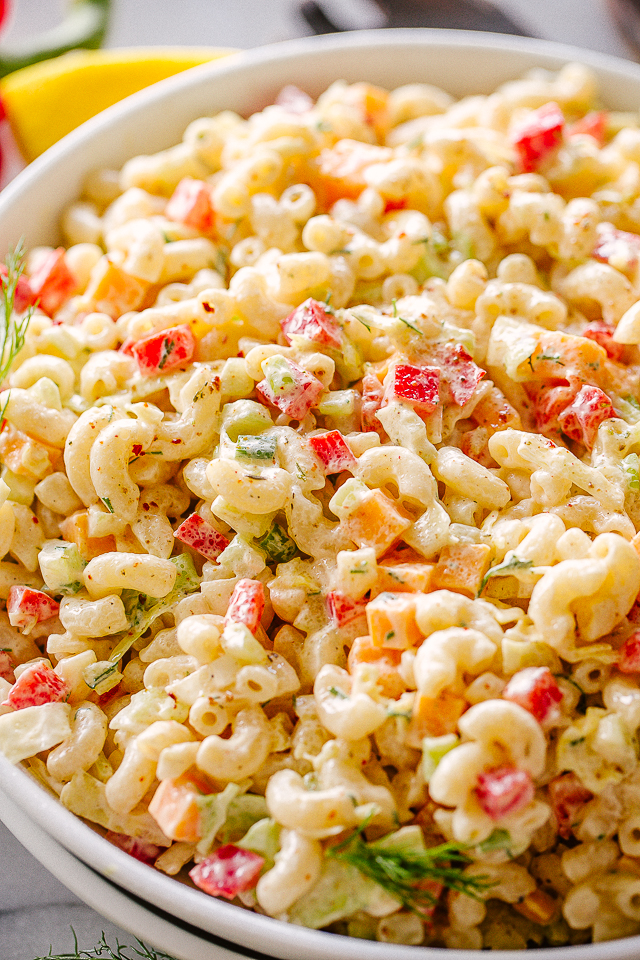 Bowl of macaroni salad