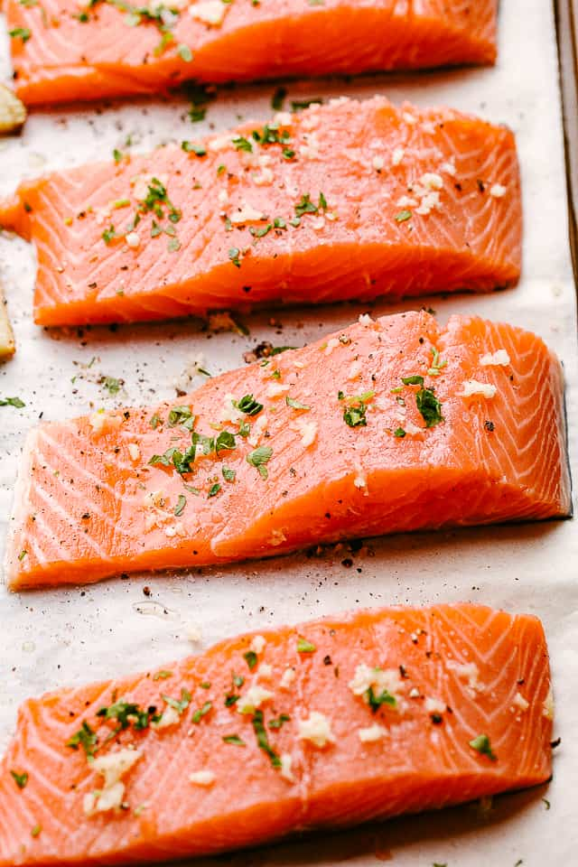 Salmon fillets ready to be baked