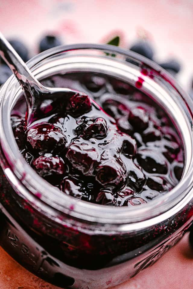 Jar of homemade blueberry sauce