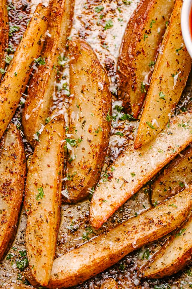 Close up of potato wedges