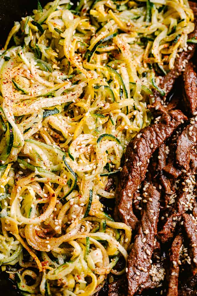 Skillet with flank steak and zucchini noodles