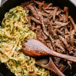 Skillet with flank steak and zoodles