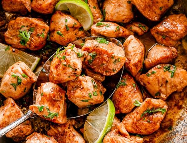 Skillet filled with chicken bites