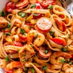 One Pot Jambalaya served in a white dish with pasta