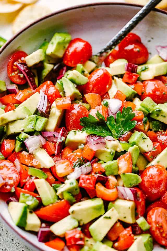 up close photo of avocado salsa