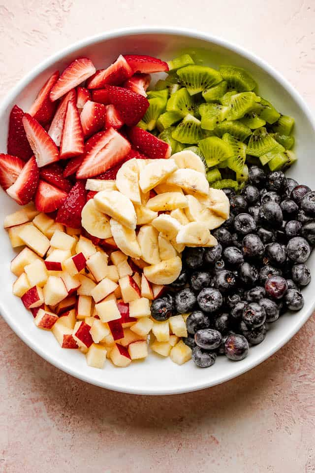 The fruit ingredients chopped and ready to be mixed.