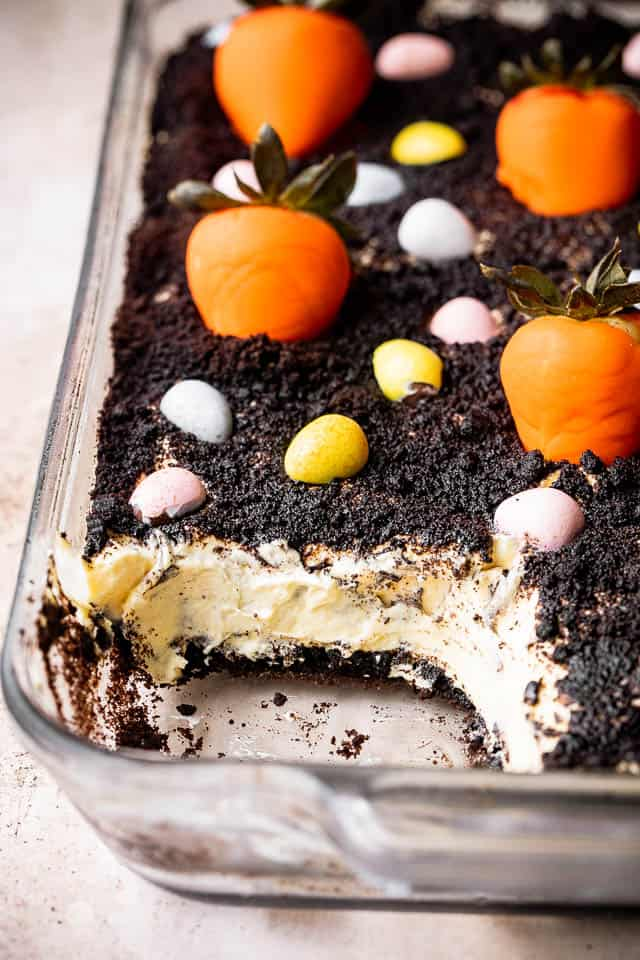 dirt cake topped with crushed oreos and candy