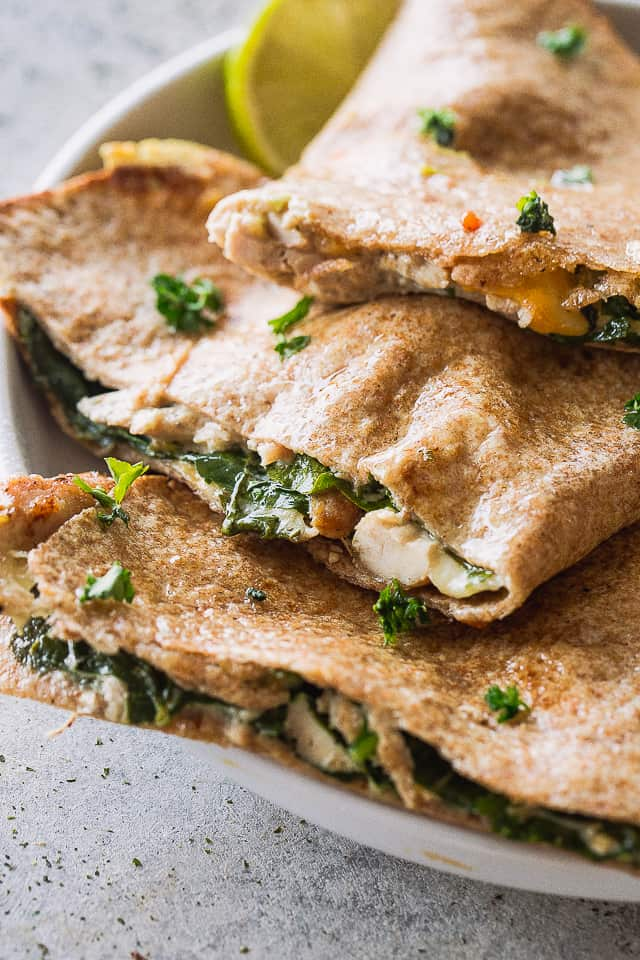 side view of creamy spinach and chicken quesadillas