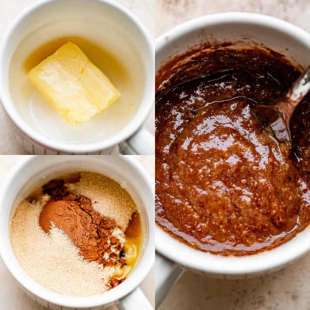 collage of step by step photos for how to make a chocolate mug cake