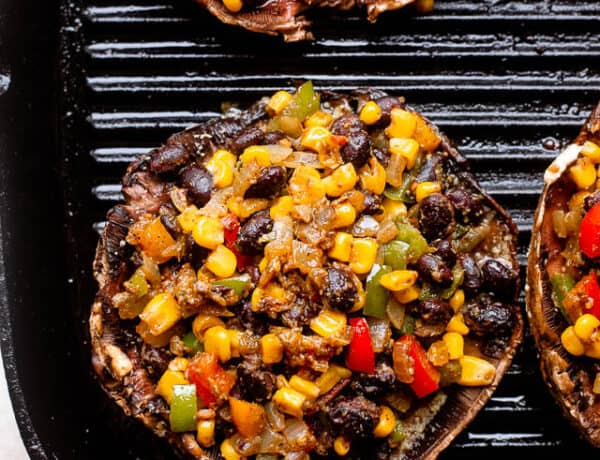 grilling mushrooms stuffed with black beans and corn