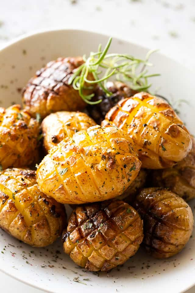 roasted hedgehog potatoes served in a white bowl