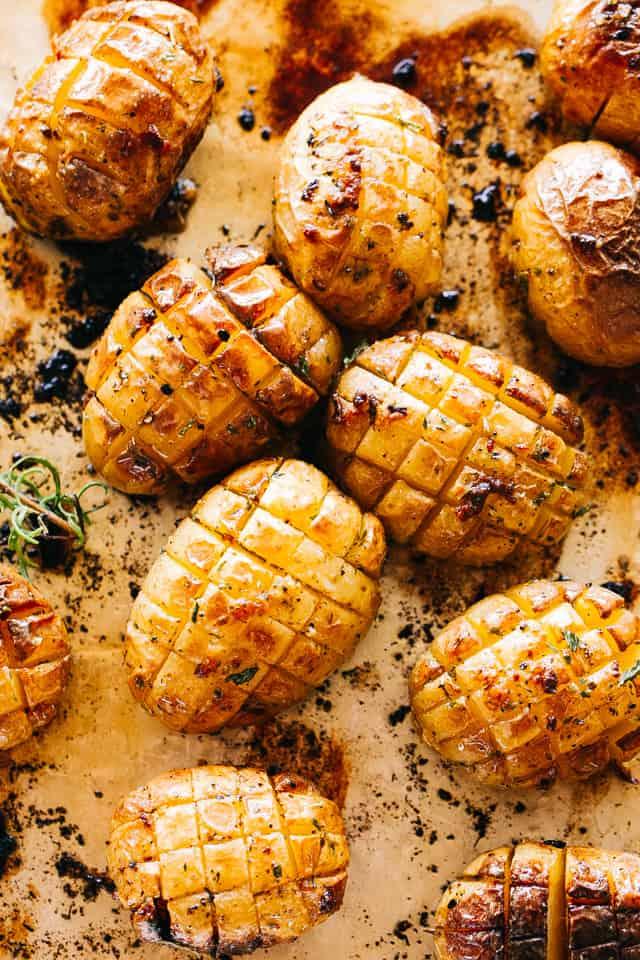 roasted hedgehog potatoes on a sheet pan