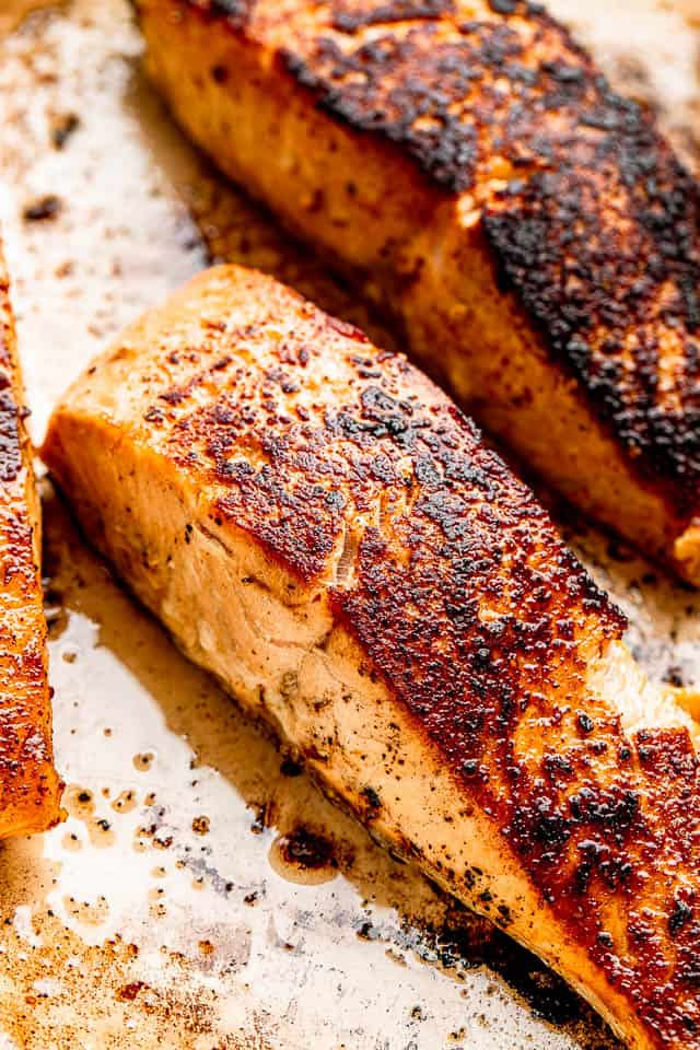 top view of seared salmon fillets