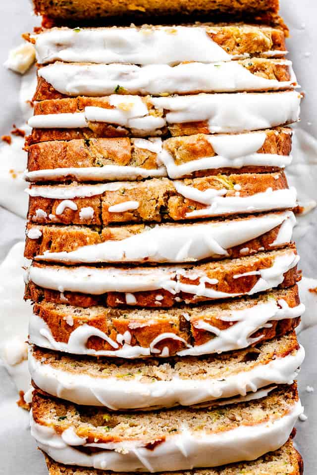 sliced and frosted banana zucchini bread