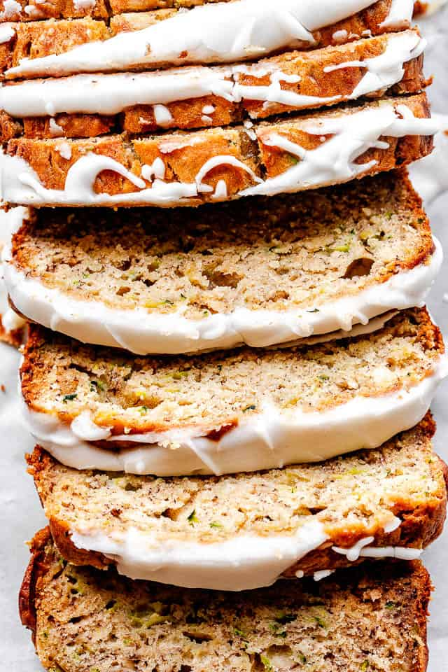 top shot of zucchini banana bread
