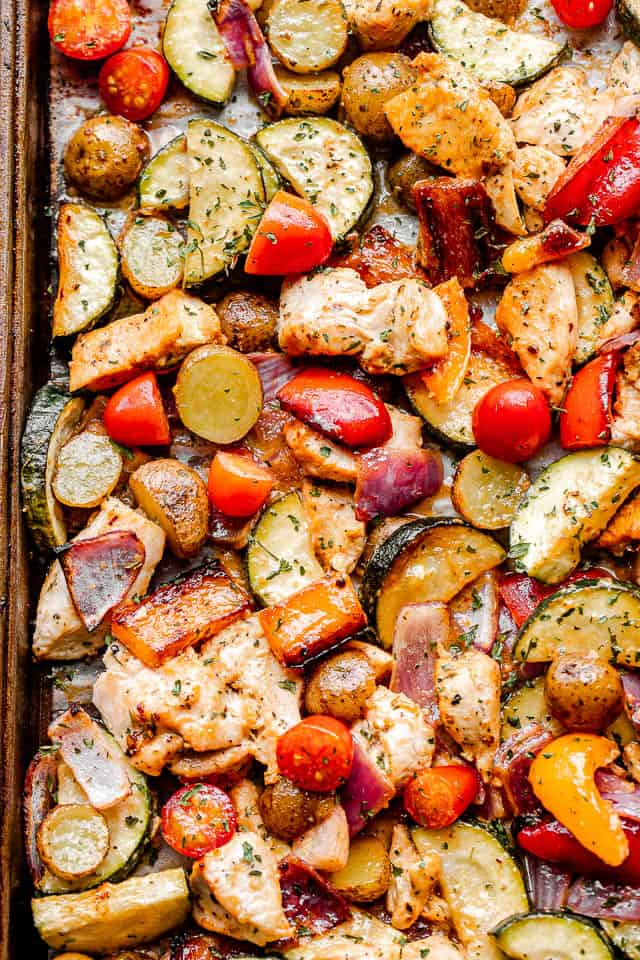 top close up shot of cooked chicken and vegetables on a sheet pan