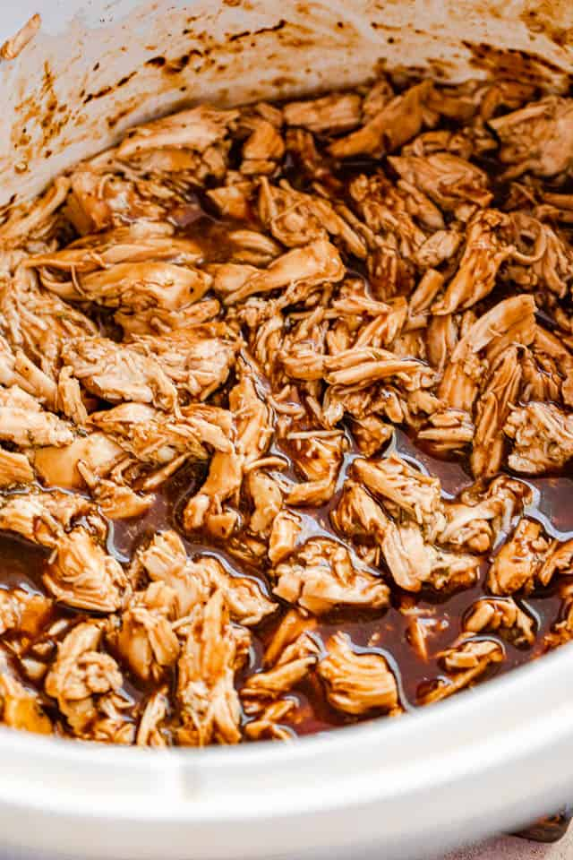 top view of barbecue shredded chicken