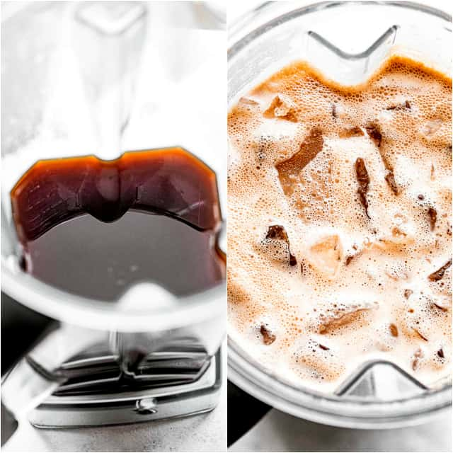 2 picture collage with a coffee in a blender