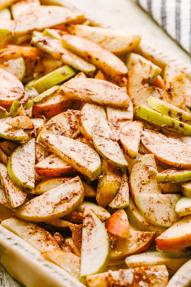 sliced apples tossed with sugar and cinnamon.