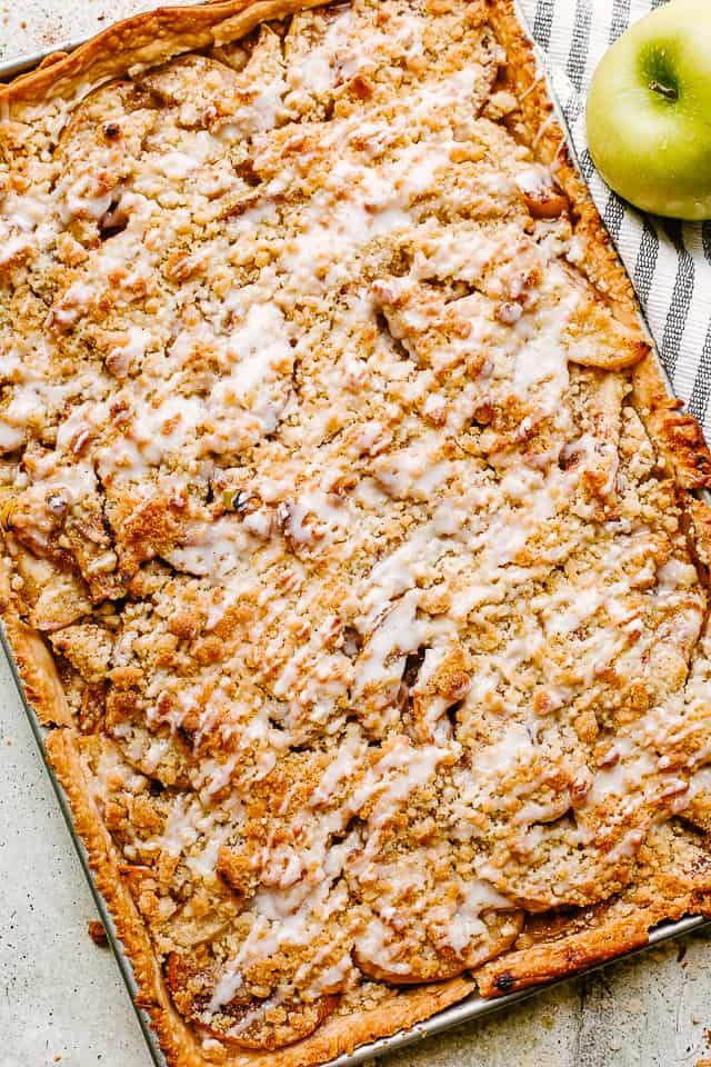 top view of a whole dutch apple slab pie