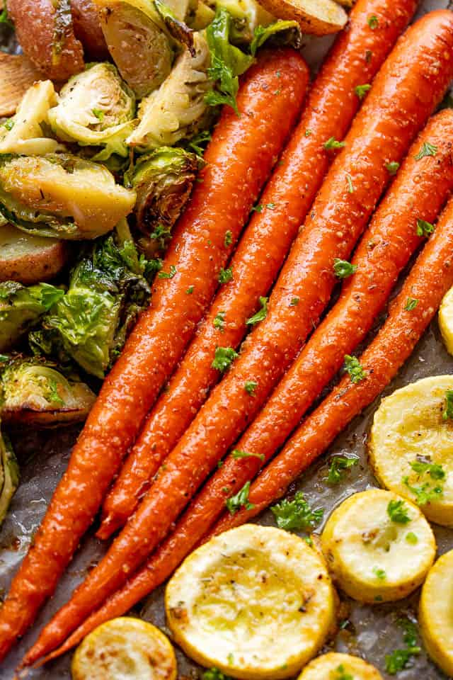 overhead shot of roasted whole carrots