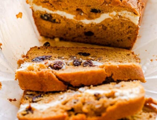 side shot of pumpkin swirl bread cut in slices