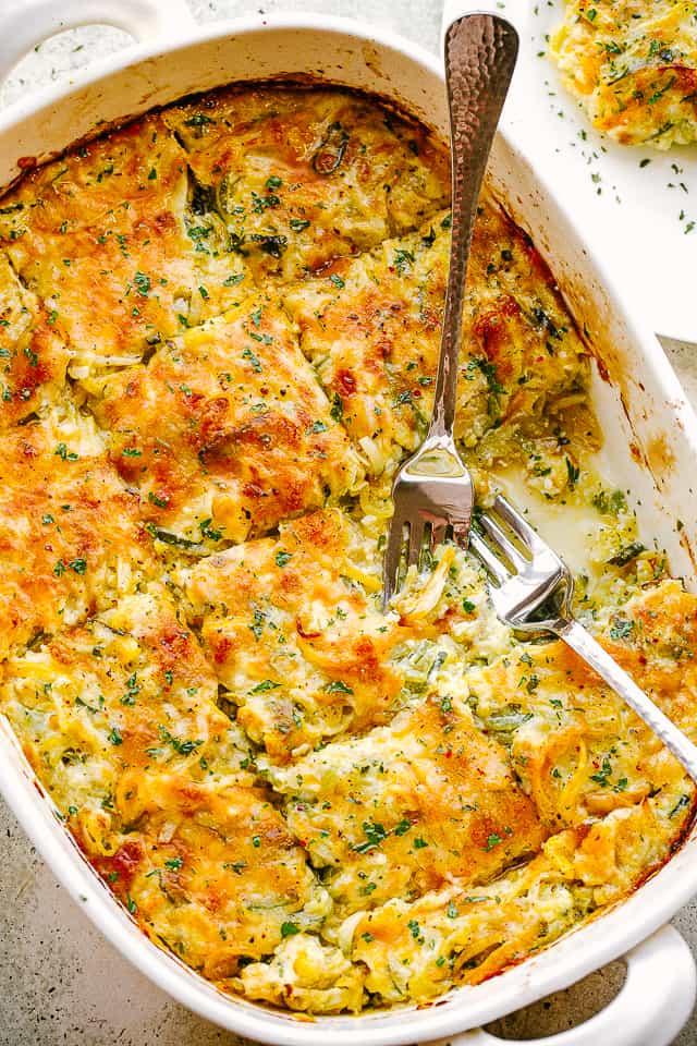 overhead picture of squash and zucchini casserole in baking dish