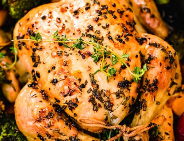 overhead close up shot of whole roast chicken