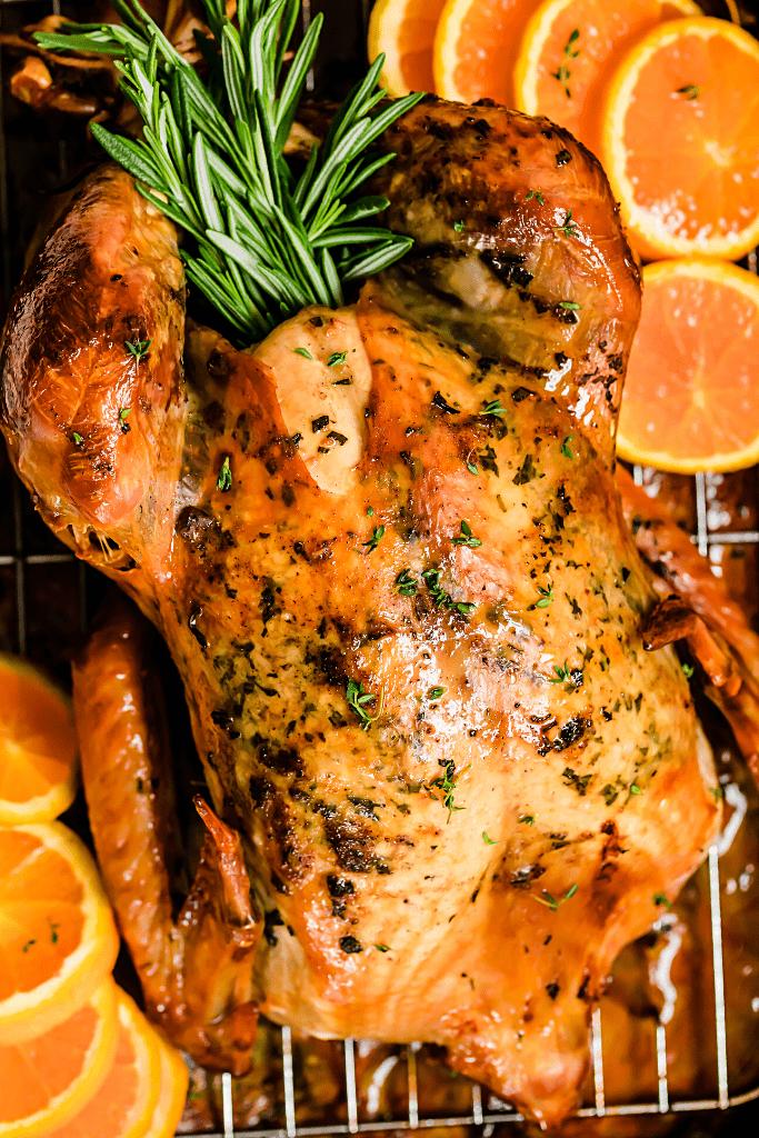 overhead close up shot of a whole roasted turkey on a roasting pan