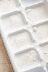 ice cube tray with frozen coconut milk ice cubes