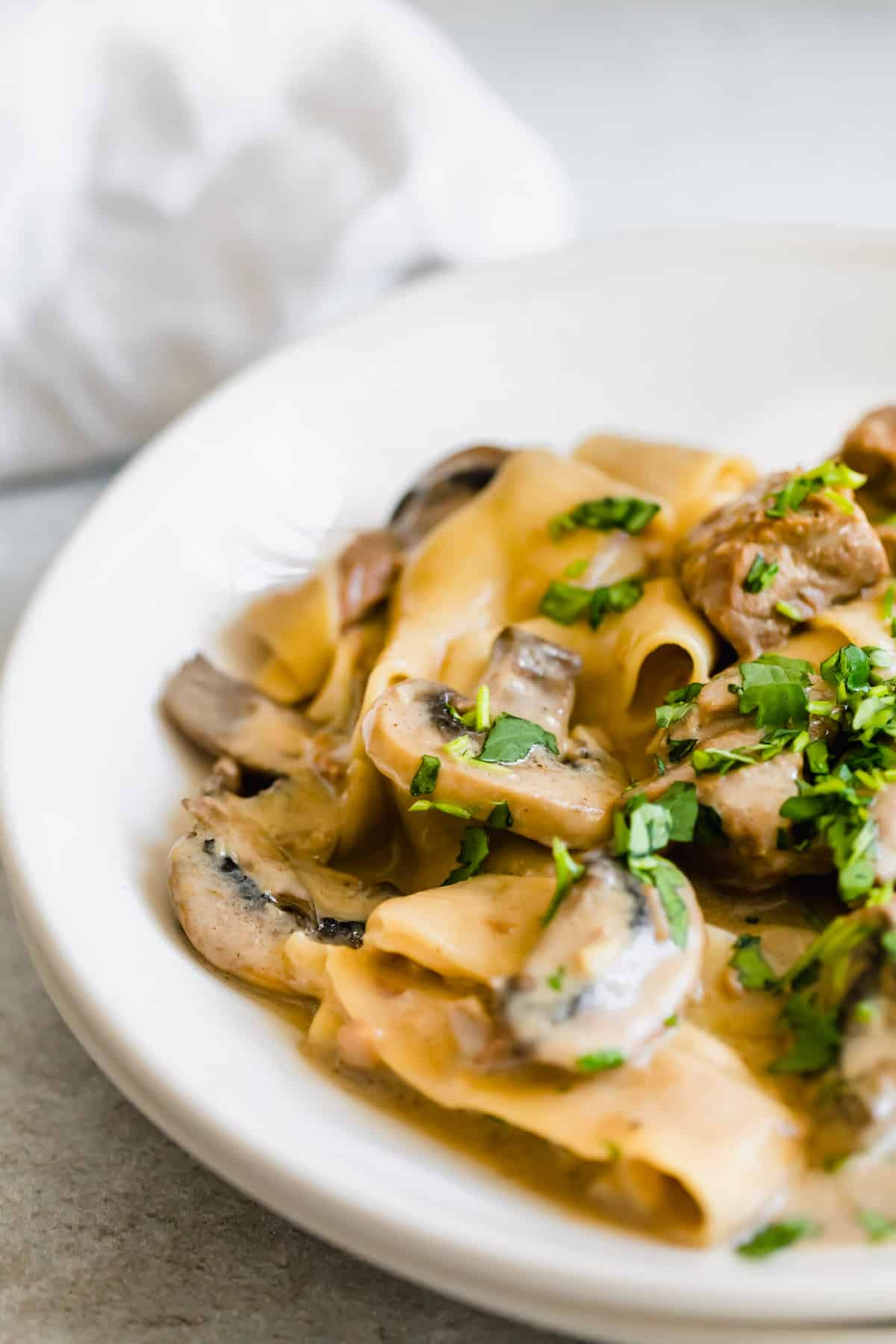 A Close-Up View of Instant Pot Beef Stroganoff on a Plate