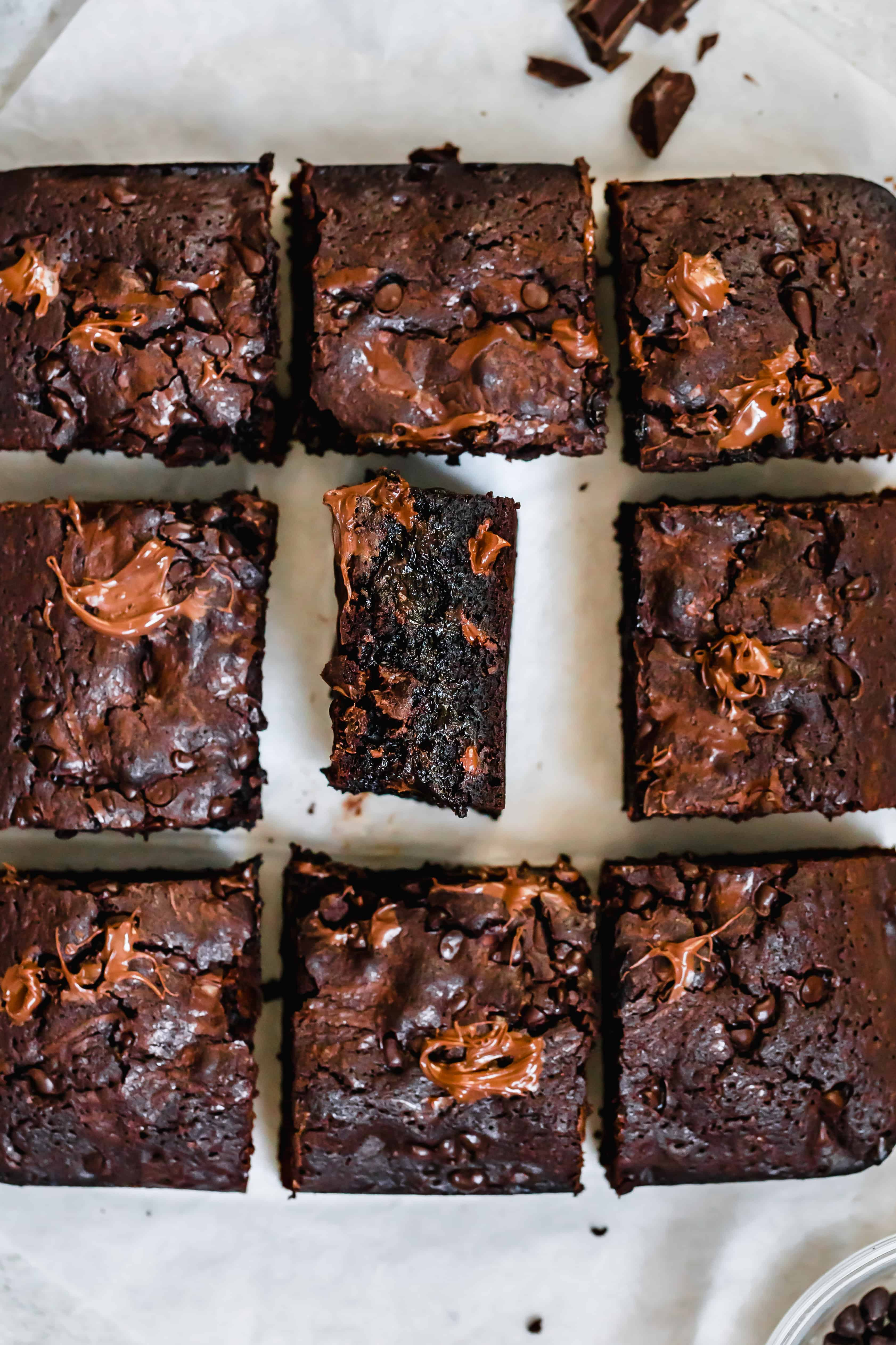 Nine Brownies Arranged in a Square with the Middle One on its Side