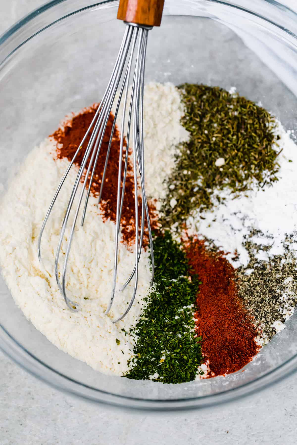 The Flour Mixture Ingredients in a Glass Bowl