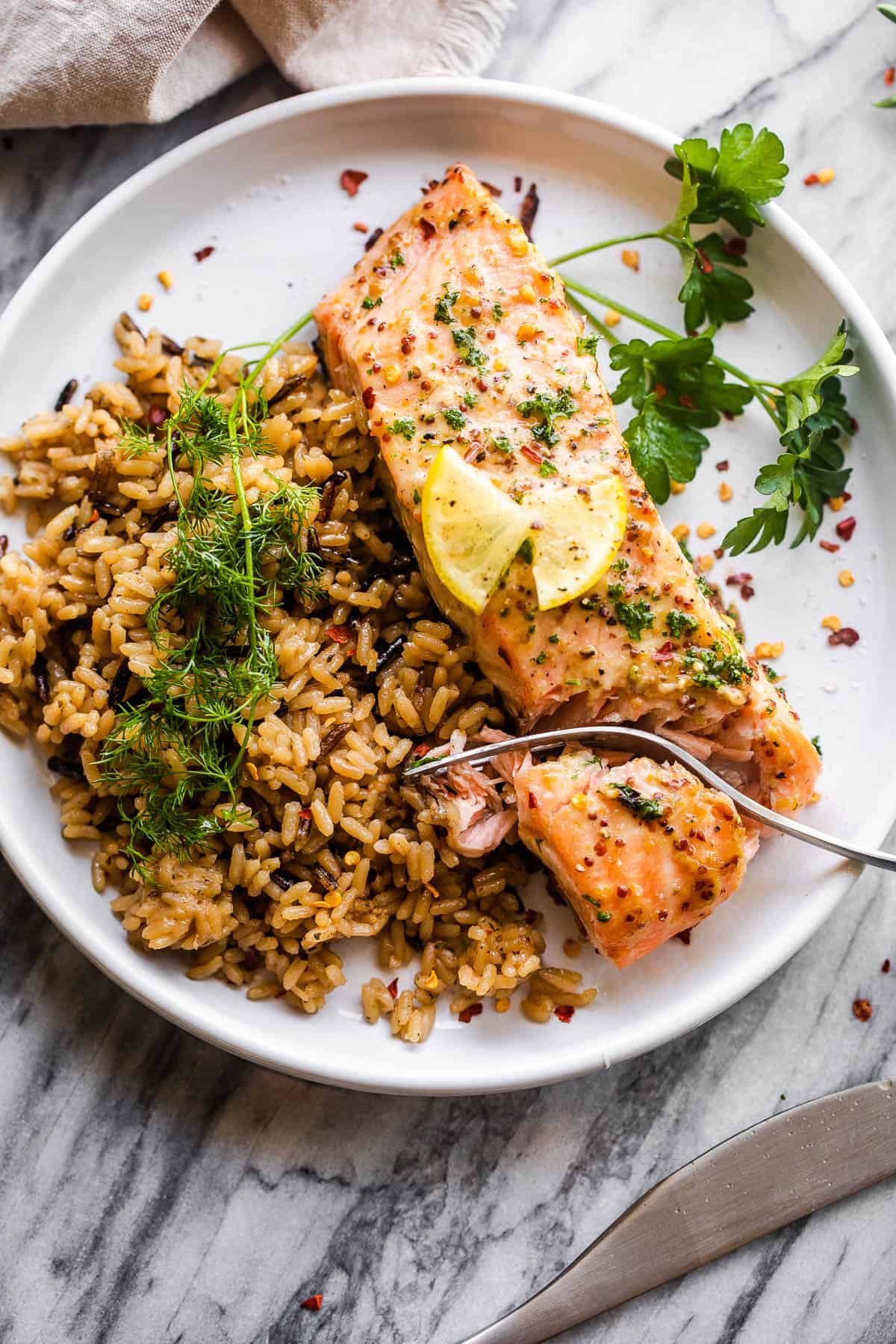 salmon fillet on white plate served with wild brown rice