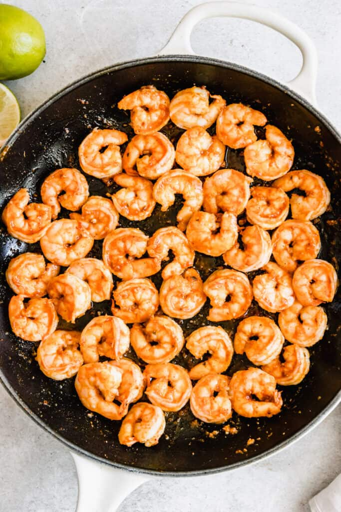 A Skillet Filled with Cooked Shrimp