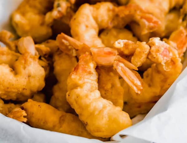 A Close-Up Shot of Freshly Fried Shrimp Inside a Serving Platter