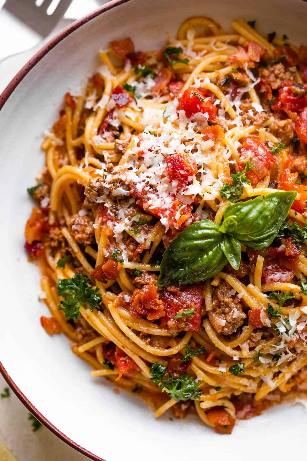 Instant Pot Spaghetti served in a pasta bowl