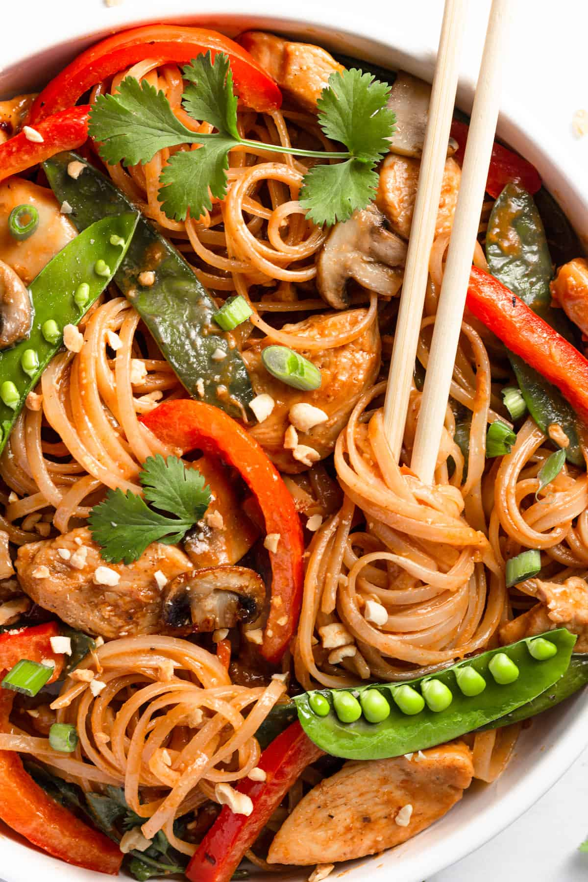 Chicken Lo Mein in a Bowl with a Pair of Wooden Chopsticks