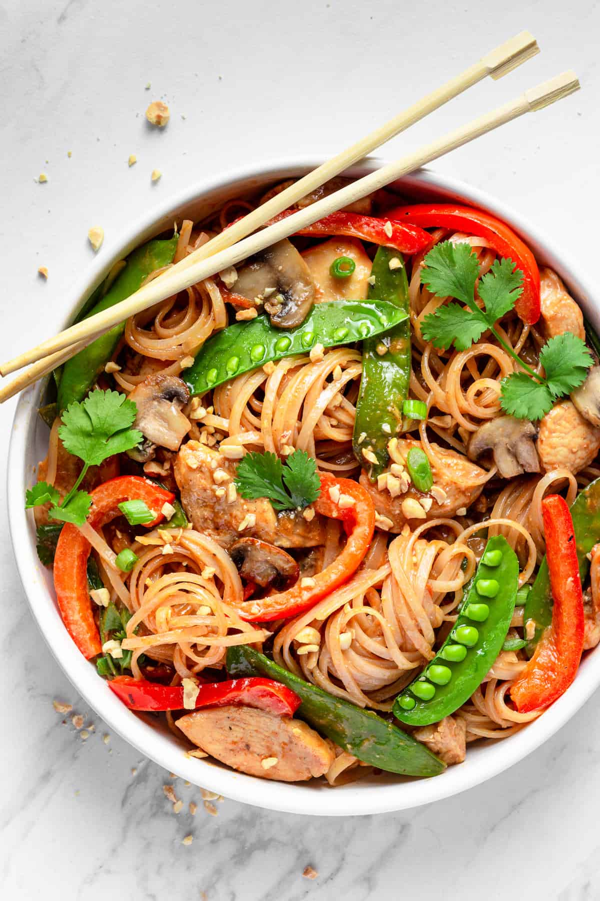 A Bowl of Chicken Lo Mein with a Pair of Chopsticks Resting on the Rim