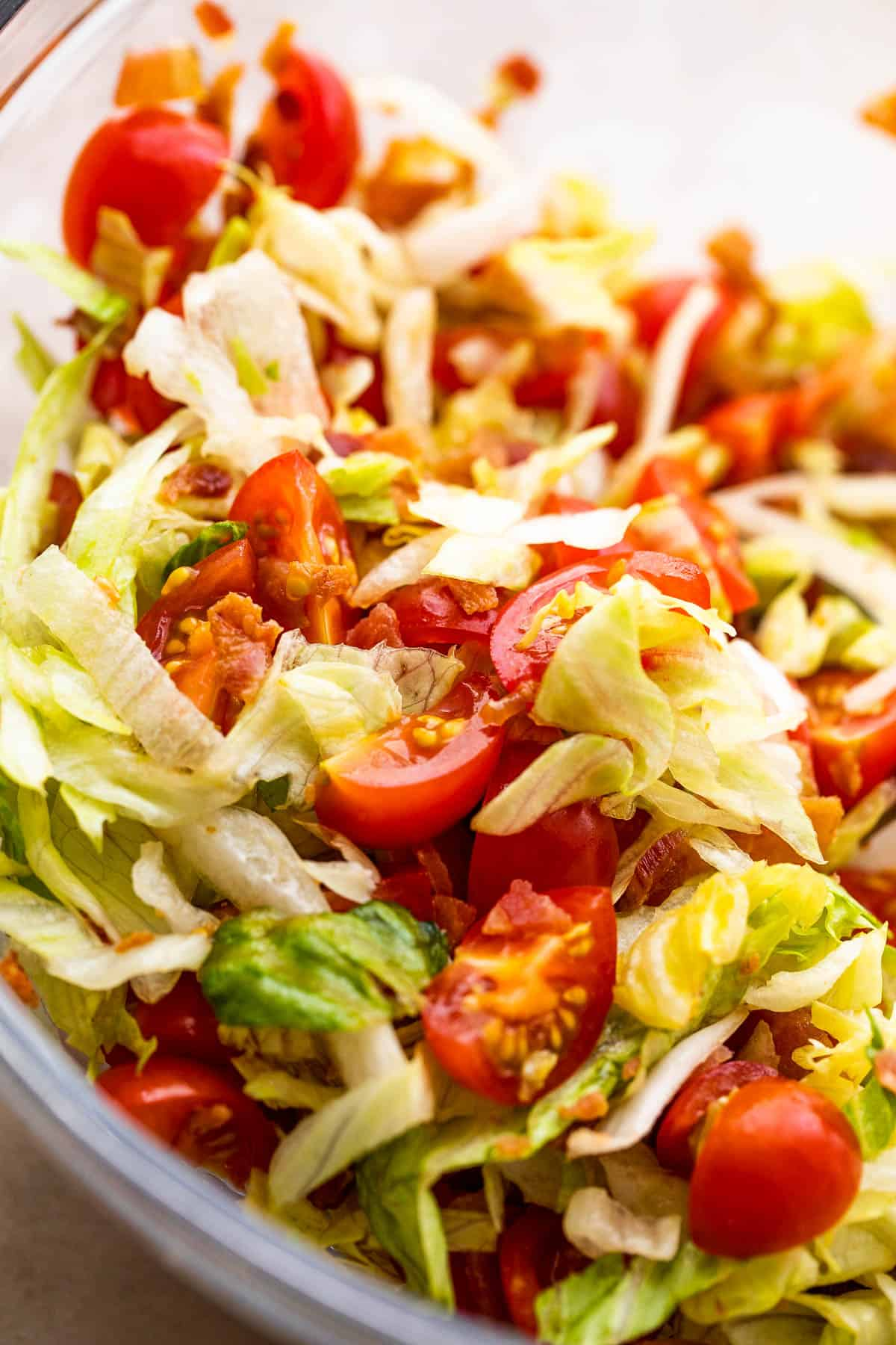 bacon, lettuce, and tomato salad in a glass bowl