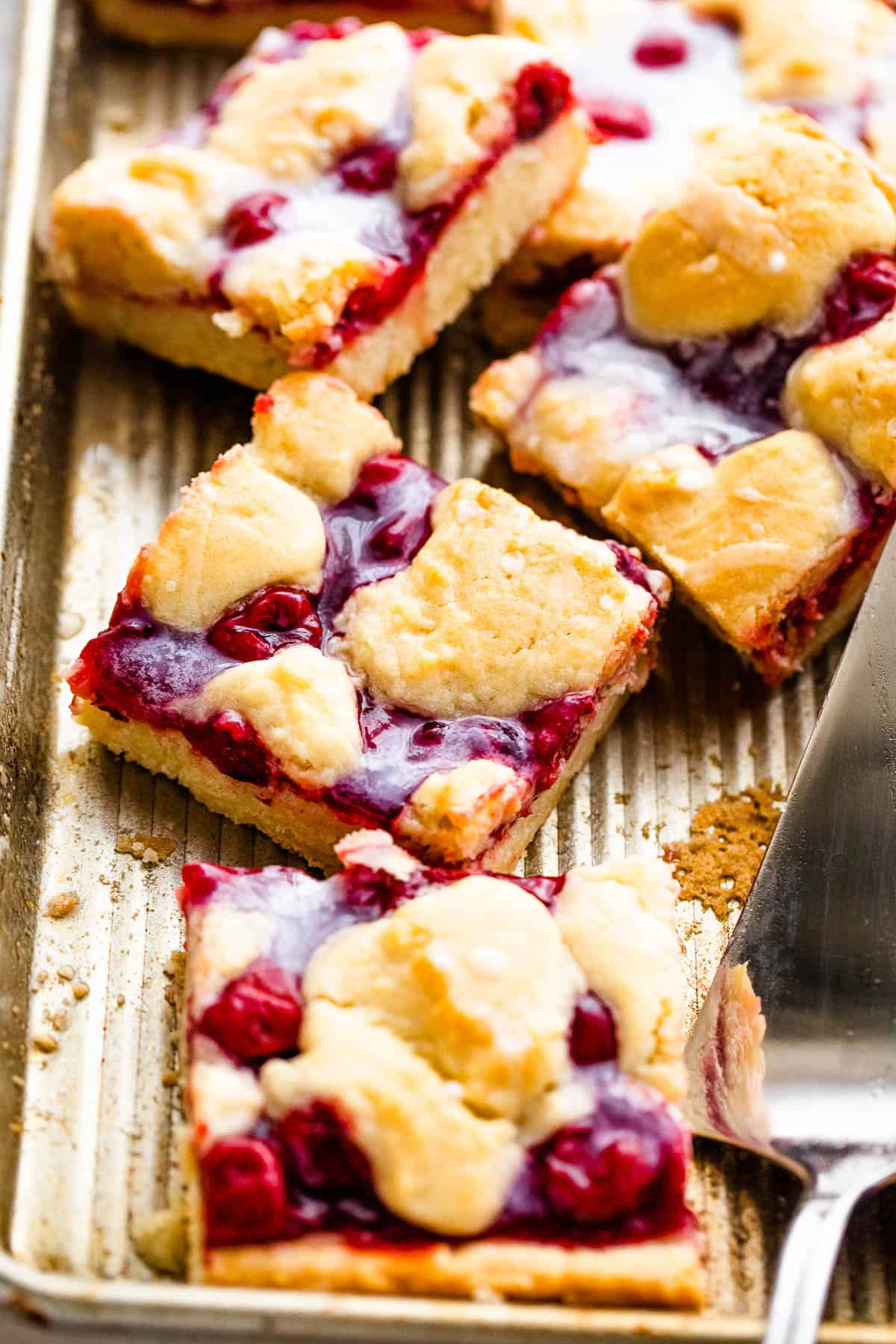Pan of Cherry Kuchen Bars Topped with Glaze
