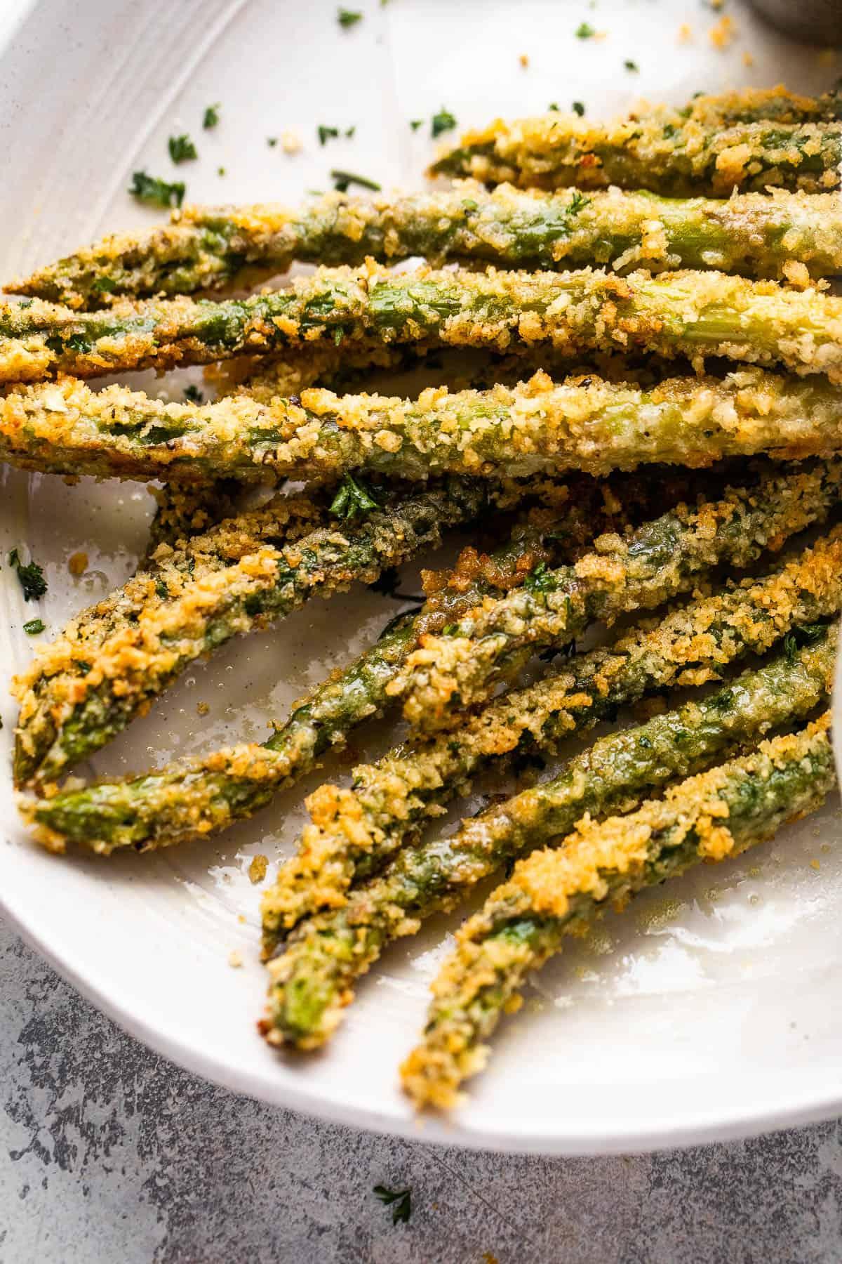 baked parmesan panko asparagus spears