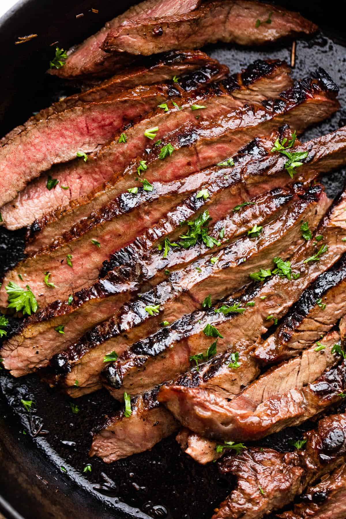 sliced cooked steak