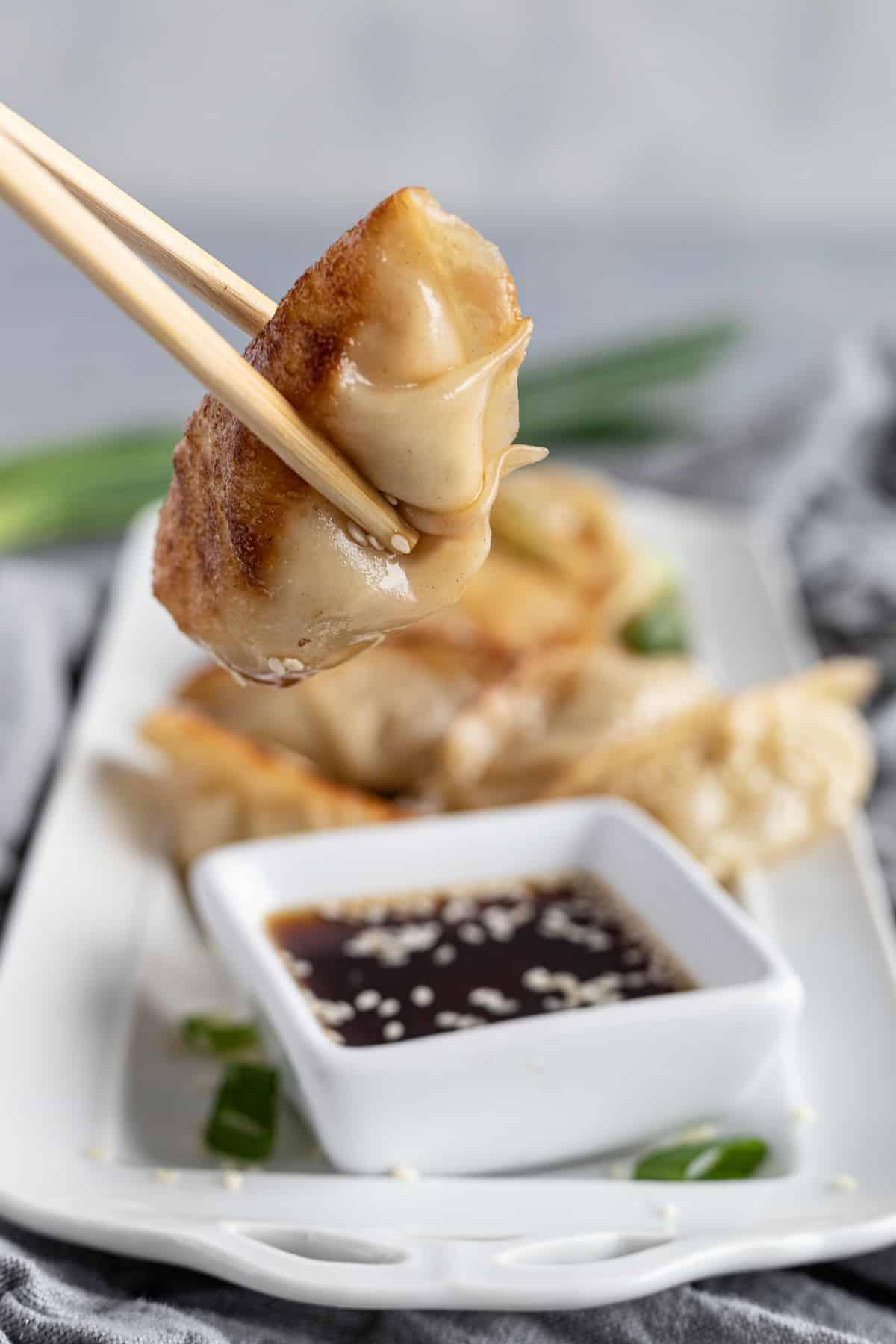 A Pair of Wooden Chopsticks Squeezing a Warm Chicken Dumpling