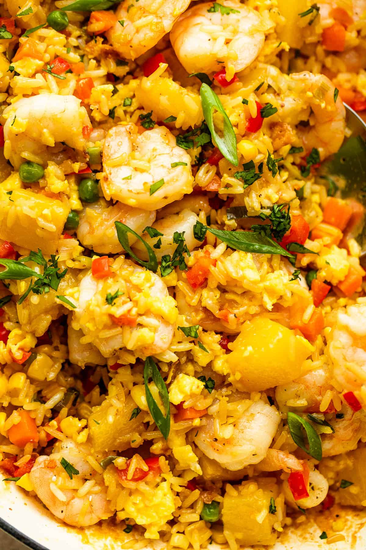 up close photo of Shrimp Fried Rice with pineapple chunks