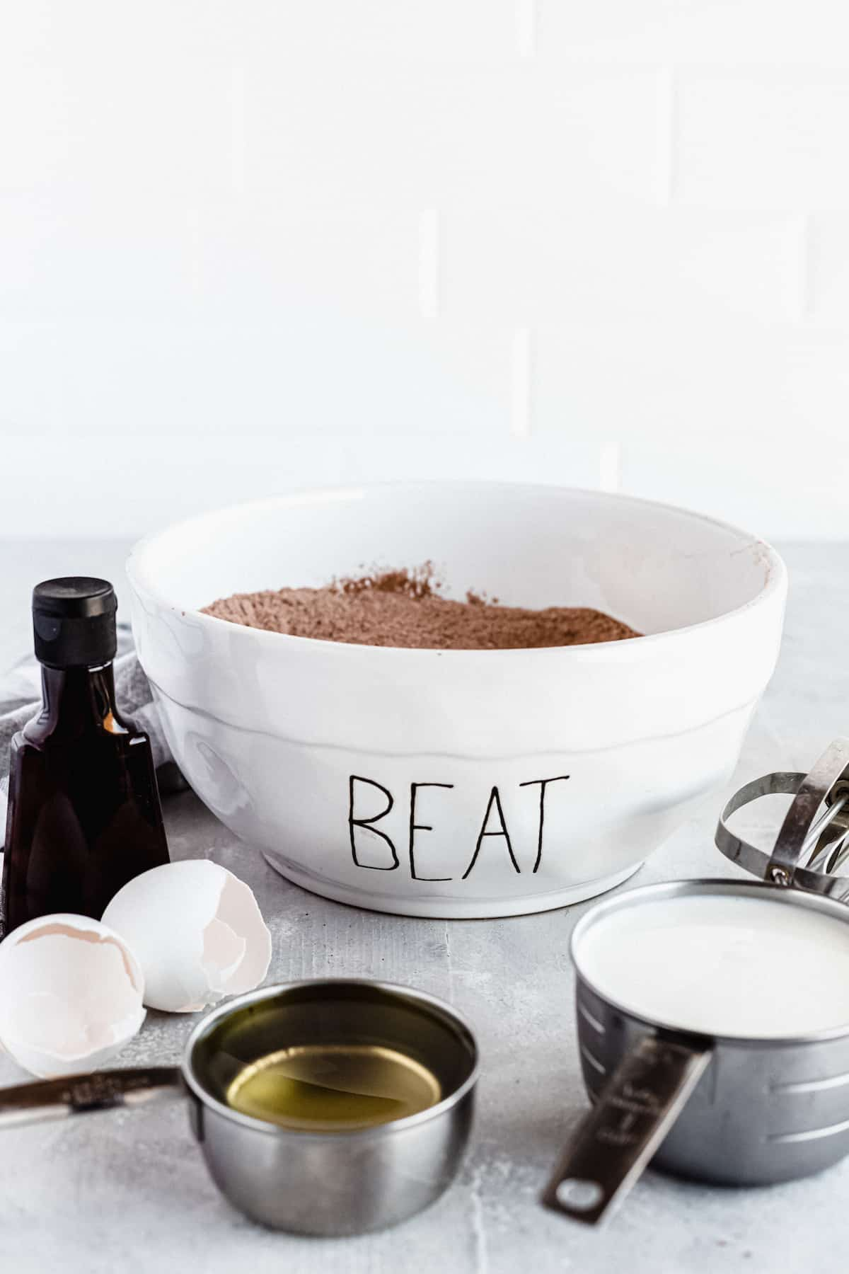 A Mixture of the Dry Ingredients for Homemade Chocolate Cake
