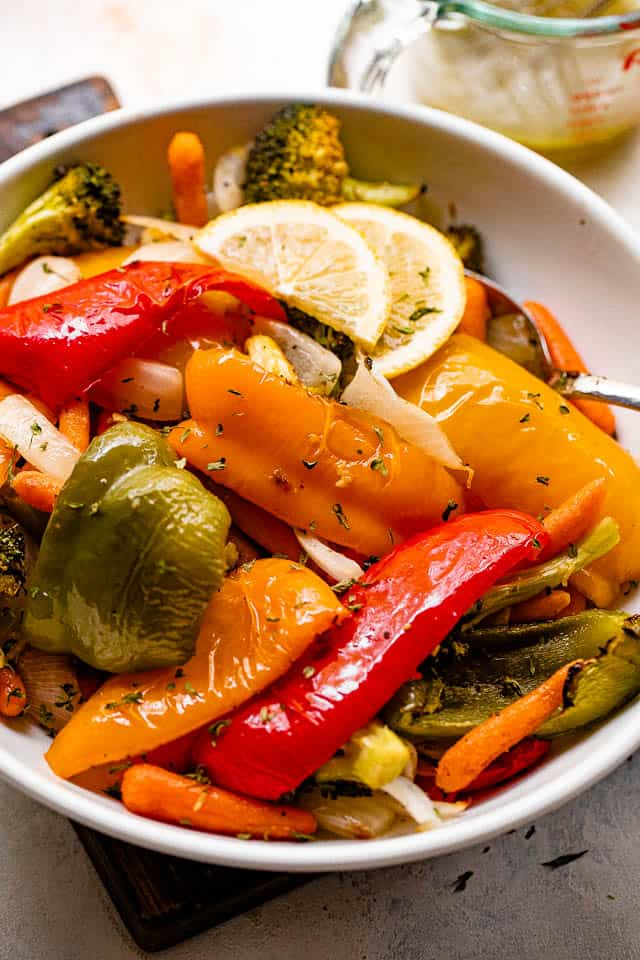 grilled vegetables served in a white bowl